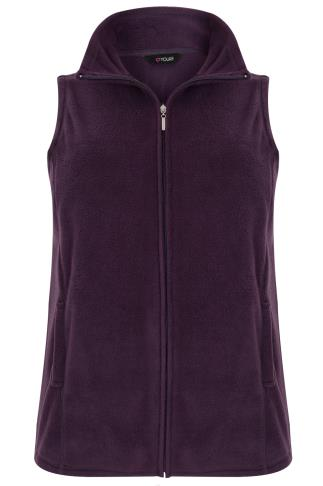 Purple Microfleece Gilet With Zip Front