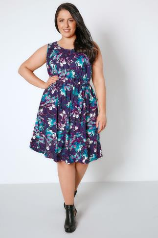Skater Dresses Purple & Blue Floral Pocket Dress With Elasticated Waistband 136047