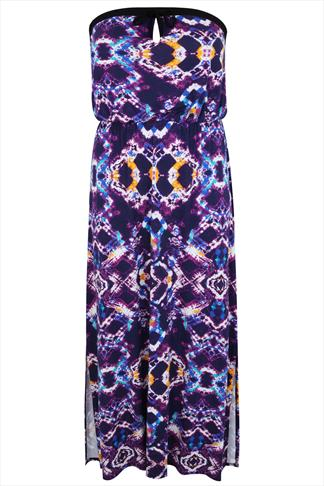 Purple & Multi Kaleidoscope Print Bandeau Maxi Dress