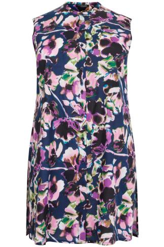 Purple & Navy Floral Print Sleeveless Longline Top