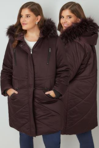 Manteaux Purple Padded Parka Jacket With Faux Fur Hood 120033