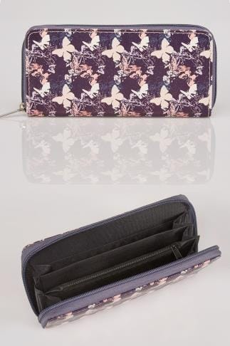 Bags & Purses Purple & Peach Faux Leather Butterfly Print Zip Purse 101217