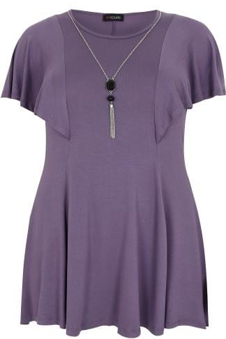 Purple Peplum Top With Frill Angel Sleeves With Free Necklace