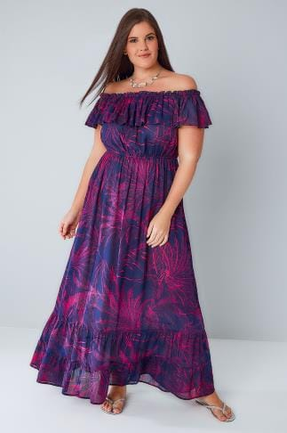 Maxi Dresses Purple & Pink Palm Print Frill Maxi Dress 136095