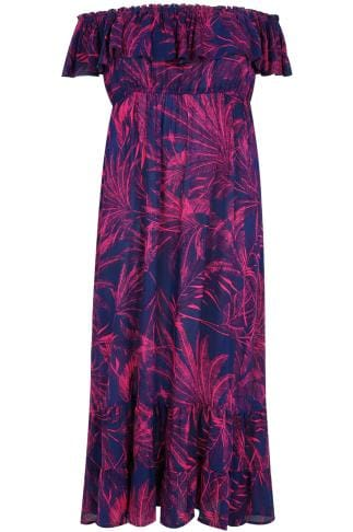 Purple Amp Pink Palm Print Frill Maxi Dress Plus Size 16 To 36