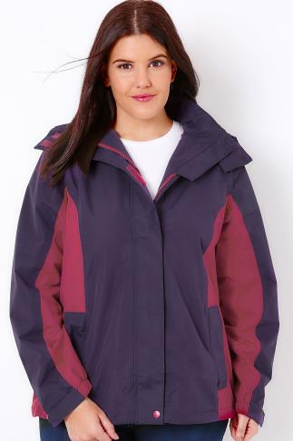 Waterproof & Shower Resistant Jackets Purple & Pink Waterproof Rain Jacket With Removable Hood 101499
