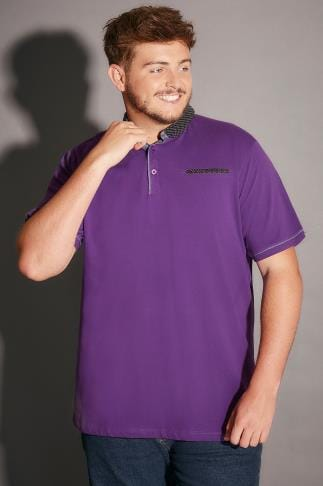 Polo Shirts Purple Polo Shirt With Contrast Polka Dot Collar & Pocket Trim 170195