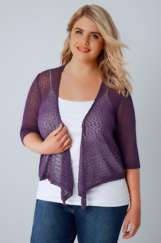 Purple Popcorn Crochet Cropped Shrug 124005