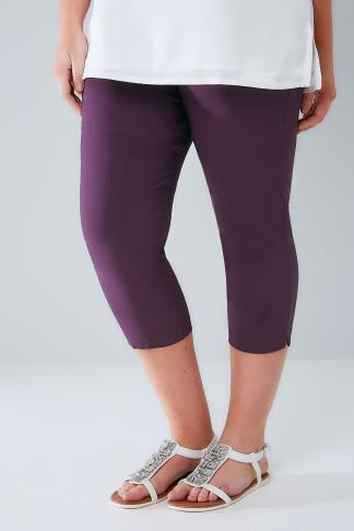 Cropped Trousers Purple Pull On Stretch Cropped Trousers 144034