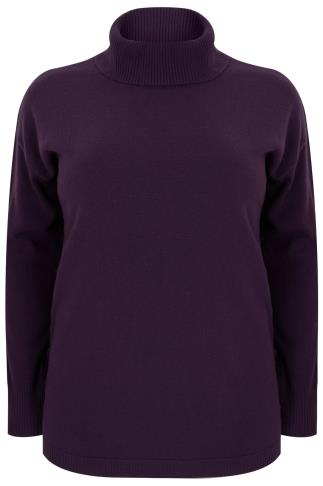 Purple Roll Neck Longline Jumper With Lace Up Hem