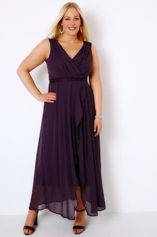 Purple Ruched Chiffon Maxi Wrap Dress With Lace Detail 136020