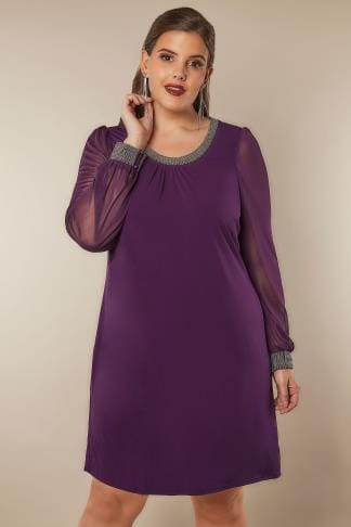 Swing & Shift Dresses Purple Shift Dress With Beaded Neckline & Cuffs 136167