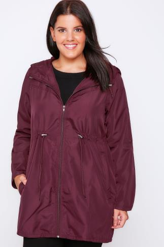 Purple Shower Resistant Pocket Parka Jacket With Hood