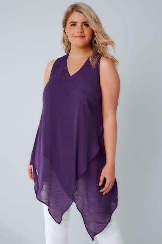 Purple Sleeveless Top With Layered Front 130055