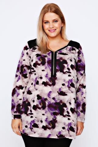 Purple Smudge Print Top With Zip Detail