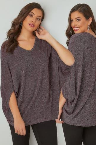 Longline Tops YOURS LONDON Purple & Metallic Fine Knit Longline Top With Slouchy Cape Sleeves 156238