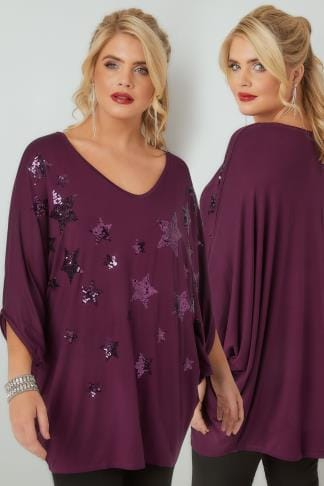 Jersey Tops Purple Star Sequin Embellished Oversized Jersey Top With Batwing Sleeves 156255