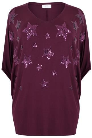 YOURS LONDON Purple Star Sequin Embellished Oversized Top With Batwing Sleeves