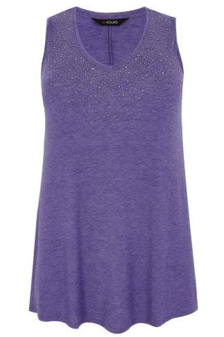 Purple Stud Embellished Fine Knit Sleeveless Swing Top 132222