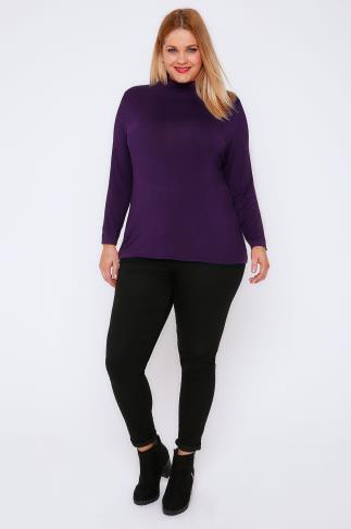 Jersey Tops Purple Turtle Neck Long Sleeved Soft Touch Jersey Top 102986