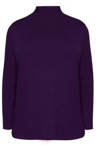 Purple Turtle Neck Long Sleeved Soft Touch Jersey Top