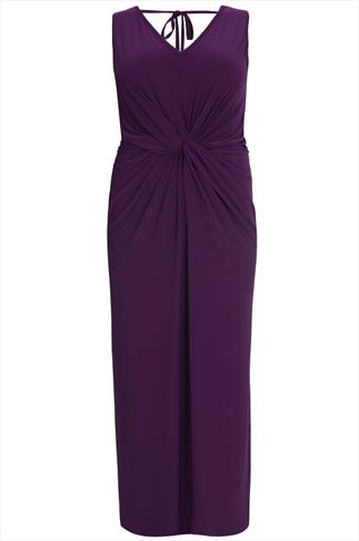 Purple V Neck Maxi Dress With Twisted Knot Front Detail