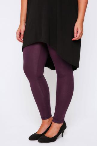 "Basic Leggings Purple Viscose Elastane Full Length - 28"" Leg 102063"