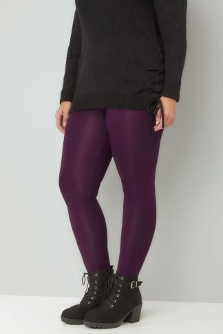 Basiques Purple Viscose Elastane Leggings 142106