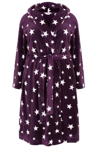 Purple & White Star Fleece Dressing Gown