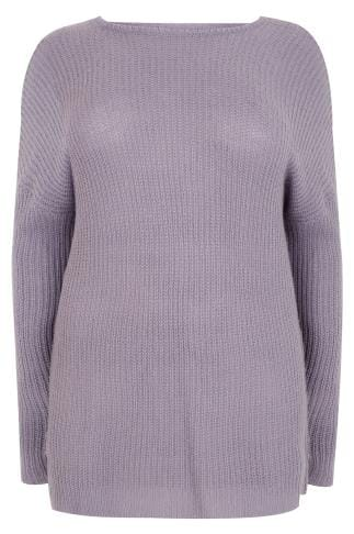 Purple knitted Longline Jumper With Open Back