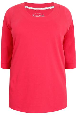 Raspberry Band Scoop Neckline T-Shirt With 3/4 Sleeves