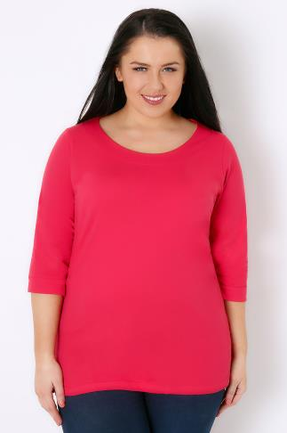 Long Sleeve Raspberry Band Scoop Neckline T-Shirt With 3/4 Sleeves 103287