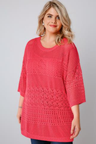 Raspberry Pink 2 in 1 Crochet Knit Jumper & Cami Top 124029