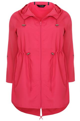 Raspberry Pink Shower Resistant Pocket Parka Jacket With Hood