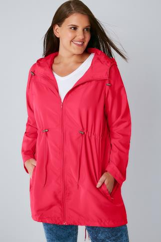 Raspberry Pink Shower Resistant Pocket Parka Jacket With Hood 102738