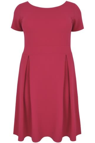 Raspberry Pink Skater Dress With Pleated Skirt