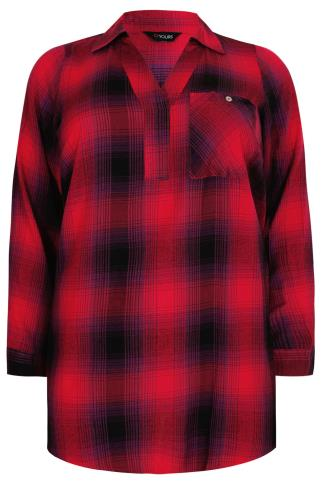 Red And Purple Oversized Checked Shirt With V-Neck