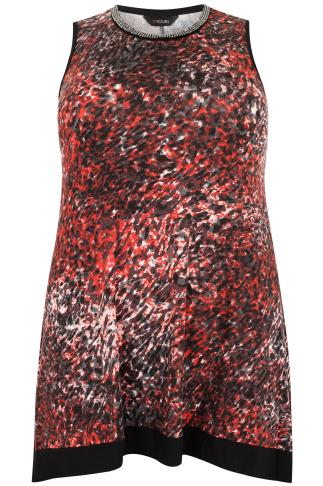 Red Animal Print Hanky Hem Sleeveless Top With Beaded Neckline