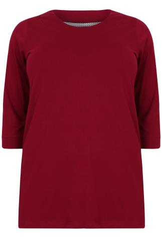 Red Band Scoop Neckline T-shirt With 3/4 Sleeves