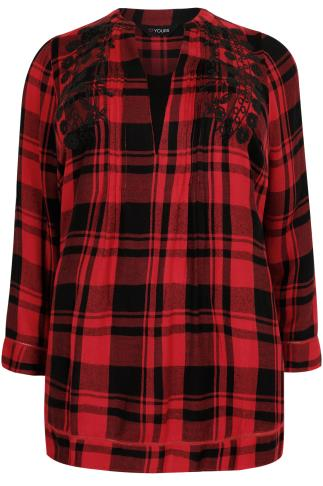 Red & Black Checked Blouse With  Floral Embroidered Detail