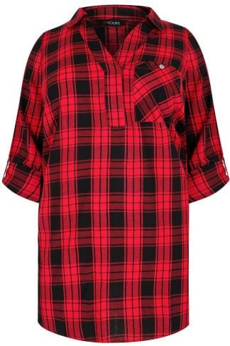 Red & Black Oversized Checked Shirt With V-Neck