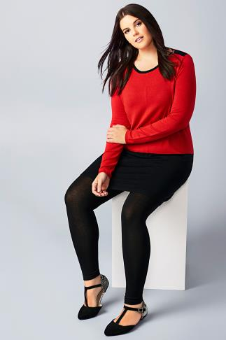 Red & Black Colour Block Longline Jumper With Silver Shoulder Zips