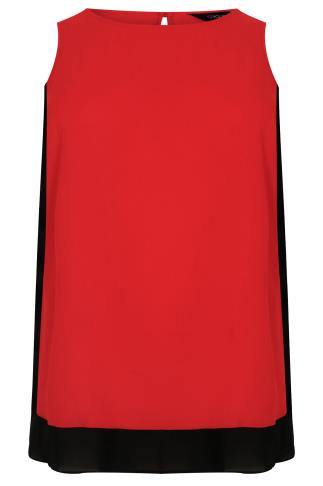 Red & Black Colour Block Longline Top With Step Hem