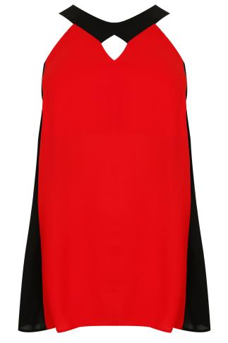 Red & Black Colour Block Sleeveless Top With Cut Out Details