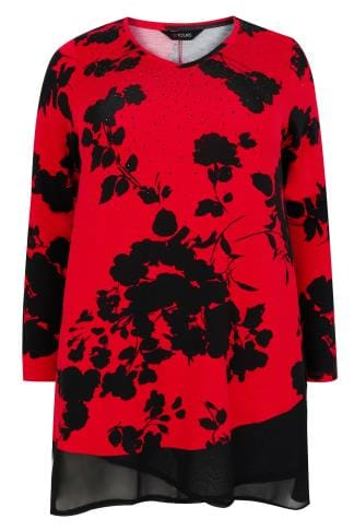 Red & Black Floral Print Top With Chiffon Hem