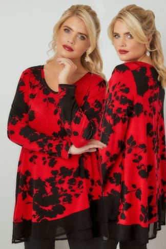 Elegante Jersey Oberteile Red & Black Floral Print Top With Chiffon Hem 134241