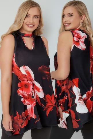 Party Tops Red & Black Floral Print Top With Choker Neck 134237