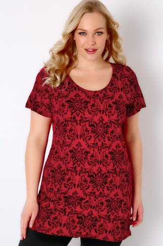 Red & Black Floral Wallpaper Print Jersey Top 170052