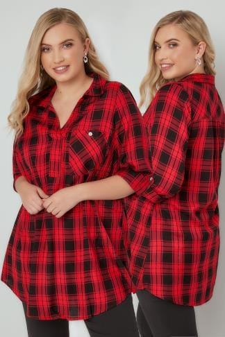 Blouses & Shirts Red & Black Oversized Checked Shirt With V-Neck 130171
