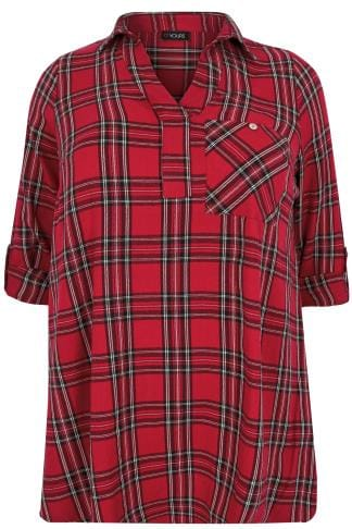 Shirts Red & Black Oversized Checked Shirt With V-Neck 130267